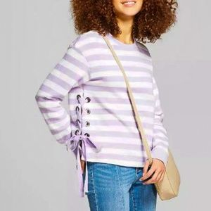 A New Day Striped Side Grommet Lace Up Pullover XL